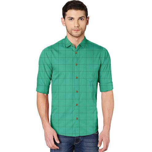 IndoPrimo - Green Colored Casual Wear Pure Cotton Shirt