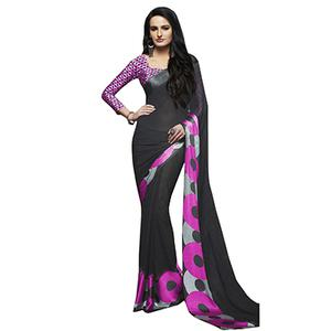 Ravishing Black-Pink Designer Printed Weightless Georgette Saree