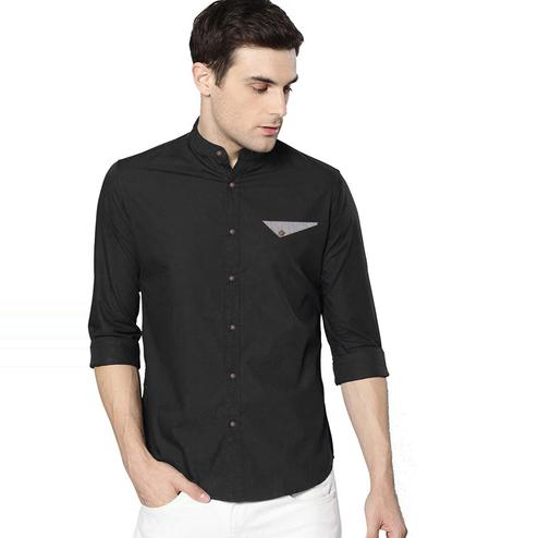 IndoPrimo - Black Colored Casual Wear Pure Cotton Shirt