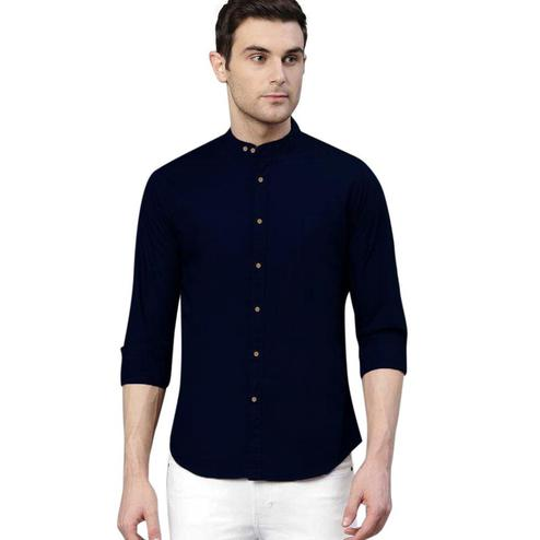IndoPrimo - Navy Blue Colored Casual Wear Pure Cotton Shirt