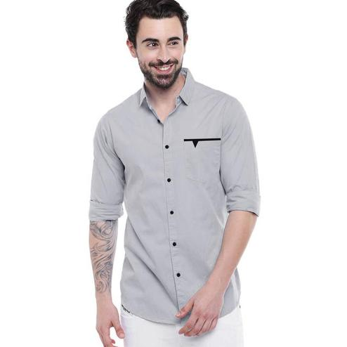 IndoPrimo - Greye Colored Casual Wear Pure Cotton Shirt
