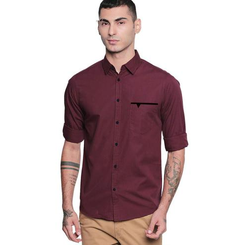 IndoPrimo - Wine Colored Casual Wear Pure Cotton Shirt