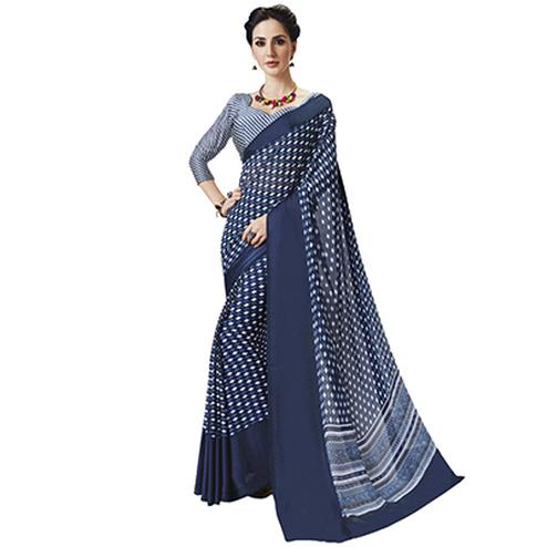 Graceful Blue Designer Printed Weightless Georgette Saree