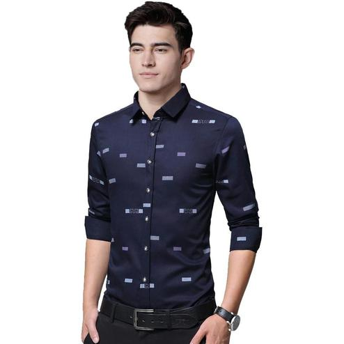 IndoPrimo - Navy Colored Casual Wear Pure Cotton Shirt