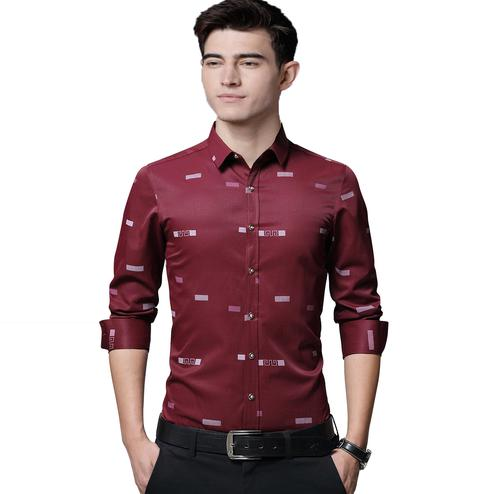 IndoPrimo - Red Colored Casual Wear Pure Cotton Shirt