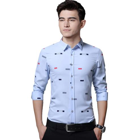 IndoPrimo - Sky Colored Casual Wear Pure Cotton Shirt