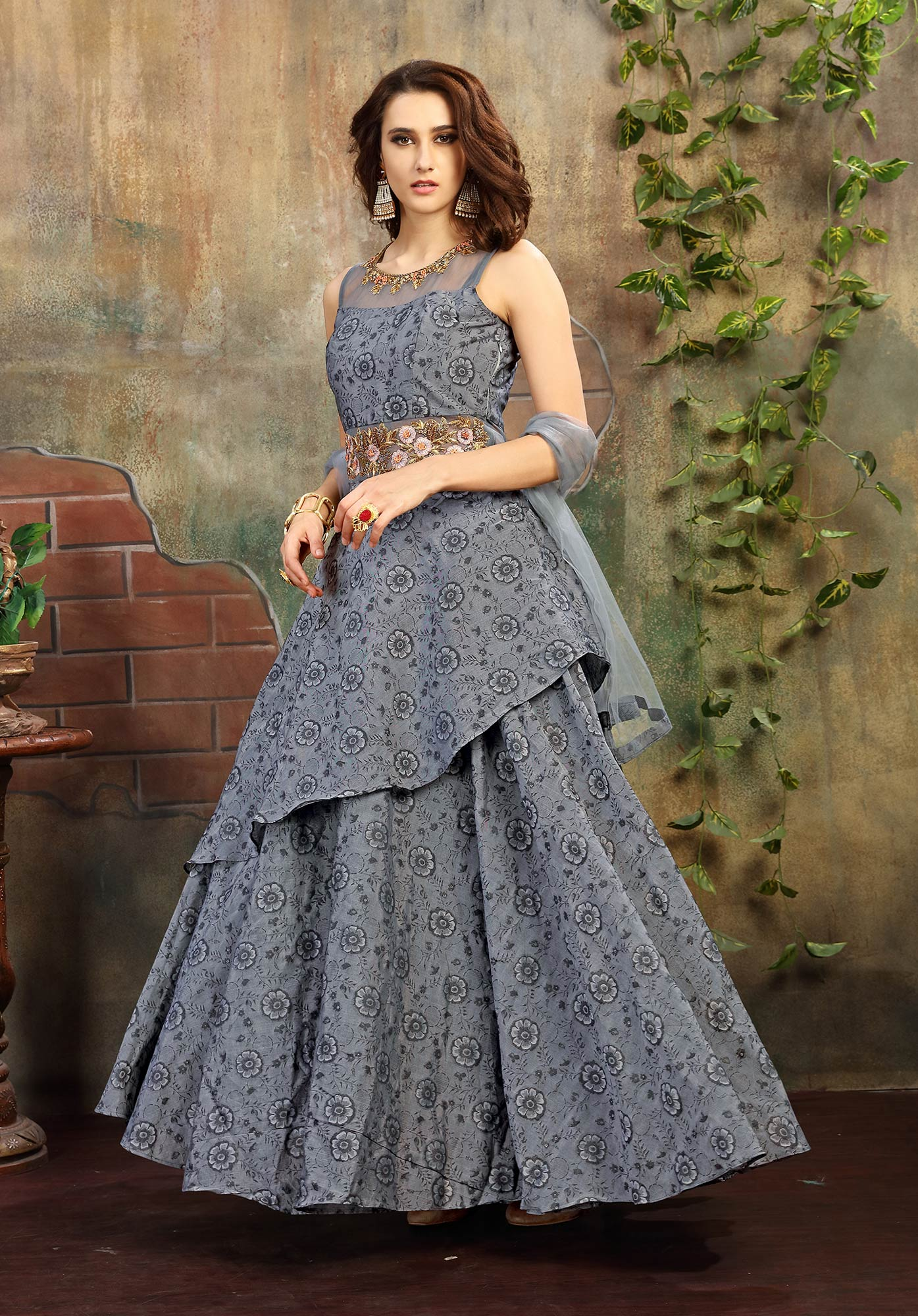 Alluring Gray Colored Designer Hand Embroidered Chanderi Jacquard Gown