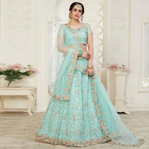 Glorious Ice Blue Colored Cording Thread & Sequence Embroidery Designer Wedding Wear Net With Banglori Silk Lehenga Choli