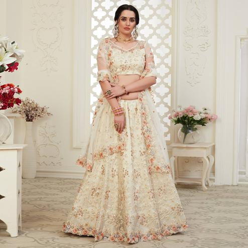 Attractive Off White Colored Cording Thread & Sequence Embroidery Designer Wedding Wear Net With Banglori Silk Lehenga Choli
