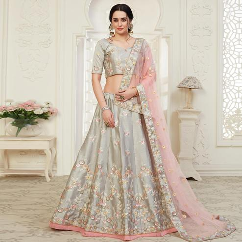 Charming Grey Colored Cording Thread & Sequence Embroidery Designer Wedding Wear Net With Mulberry Silk  Lehenga Choli