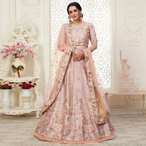 Jazzy Piggy Pink Colored Cording Thread & Sequence Embroidery Designer Wedding Wear Net With Mulberry Silk  Lehenga Choli