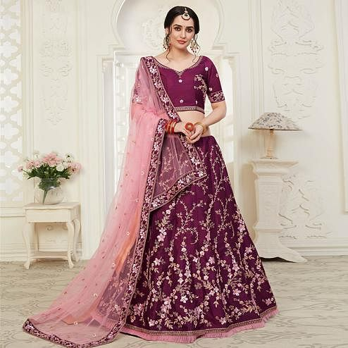 Innovative Wine Colored Cording Thread & Sequence Embroidery Designer Wedding Wear Net With Mulberry Silk Lehenga Choli