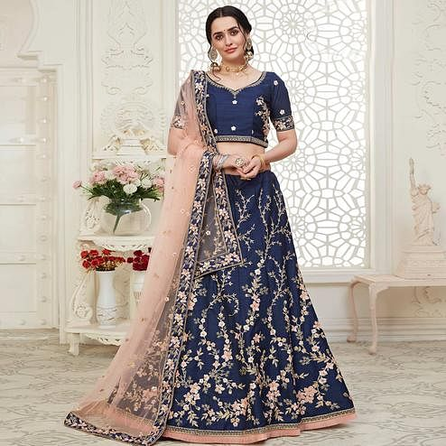 Eye-catching Navy Blue Colored Cording Thread & Sequence Embroidery Designer Wedding Wear Net With Mulberry Silk Lehenga Choli