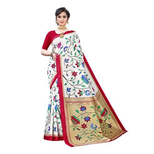 Adorable Off White-Red Colored Festive Wear Floral Printed Art Silk Saree