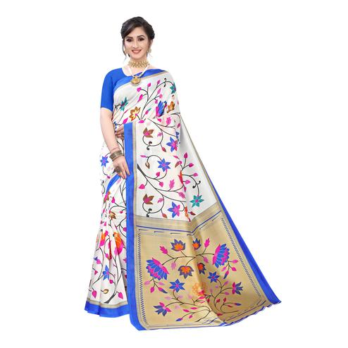 Glorious Off White-Blue Colored Festive Wear Floral Printed Art Silk Saree