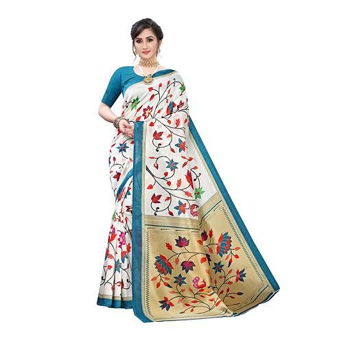 Attractive Off White-Turquoise Blue Colored Festive Wear Floral Printed Art Silk Saree