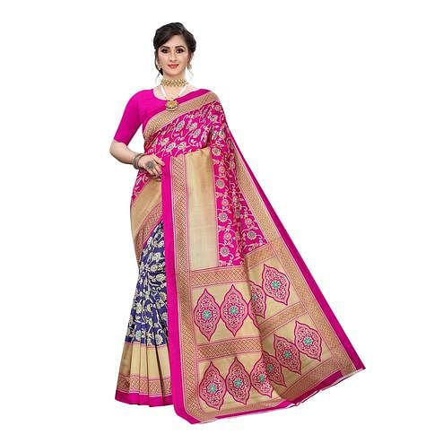 Graceful Pink-Blue Colored Festive Wear Ikat Printed Art Silk Half-Half Saree