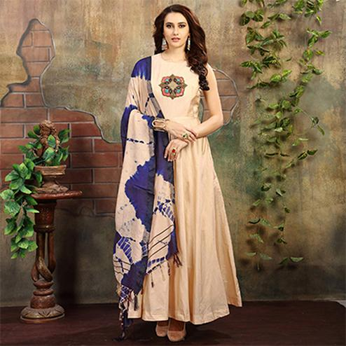 Precious Cream Colored Designer Hand Embroidered Partywear Chanderi Silk Gown