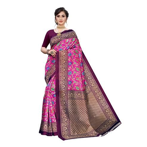 Engrossing Pink Colored Festive Wear Floral Printed Art Silk Saree