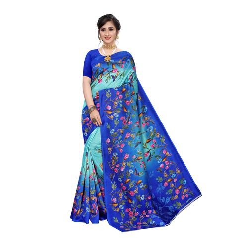 Eye-catching Blue Colored Festive Wear Floral Printed Art Silk Saree