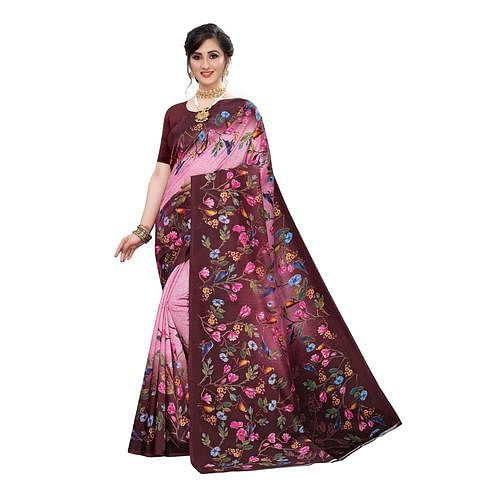 Gorgeous Maroon Colored Festive Wear Floral Printed Art Silk Saree