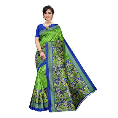 Staring Green Colored Festive Wear Abstract Printed Art Silk Saree