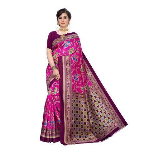 Desirable Pink Colored Festive Wear Floral Printed Art Silk Saree