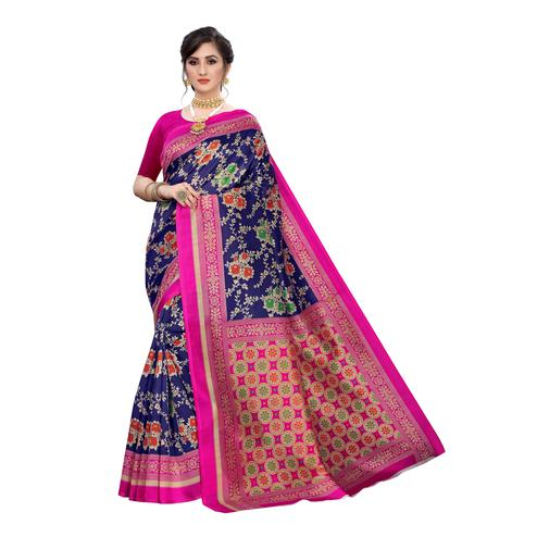 Exotic Navy Blue Colored Festive Wear Floral Printed Art Silk Saree