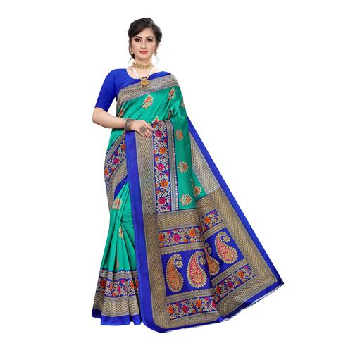 Elegant Blue Colored Festive Wear Abstract Printed Art Silk Saree