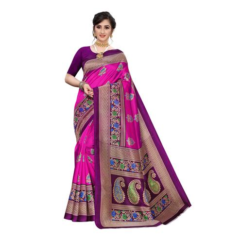 Radiant Pink Colored Festive Wear Abstract Printed Art Silk Saree
