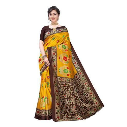 Pleasant Yellow Colored Festive Wear Abstract Printed Art Silk Saree