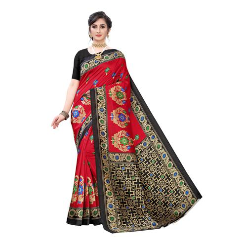 Opulent Red Colored Festive Wear Abstract Printed Art Silk Saree