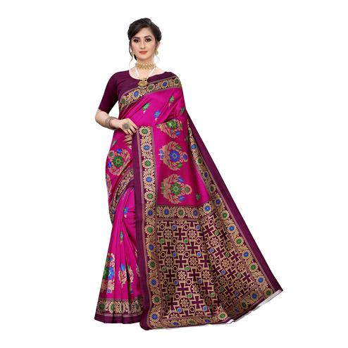 Energetic Pink Colored Festive Wear Abstract Printed Art Silk Saree