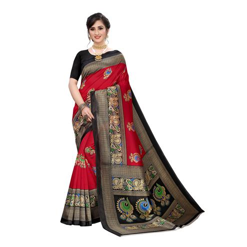 Glowing Red Colored Festive Wear Abstract Printed Art Silk Saree