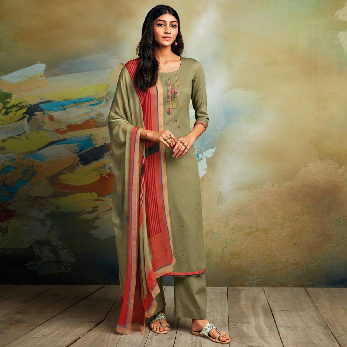 Unique Green Colored Partywear Printed and Embroidered Cotton Satin Palazzo Suit