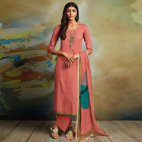 Magnetic Peach Colored Partywear Printed and Embroidered Cotton Satin Palazzo Suit