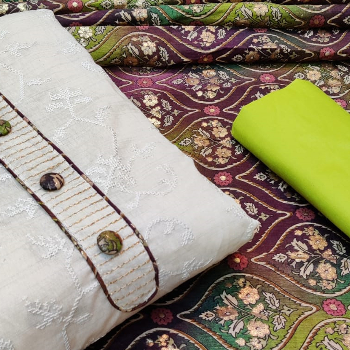 Eye-catching White - Green Colored Casual Wear Embroidered Khadi Cotton Dress Material