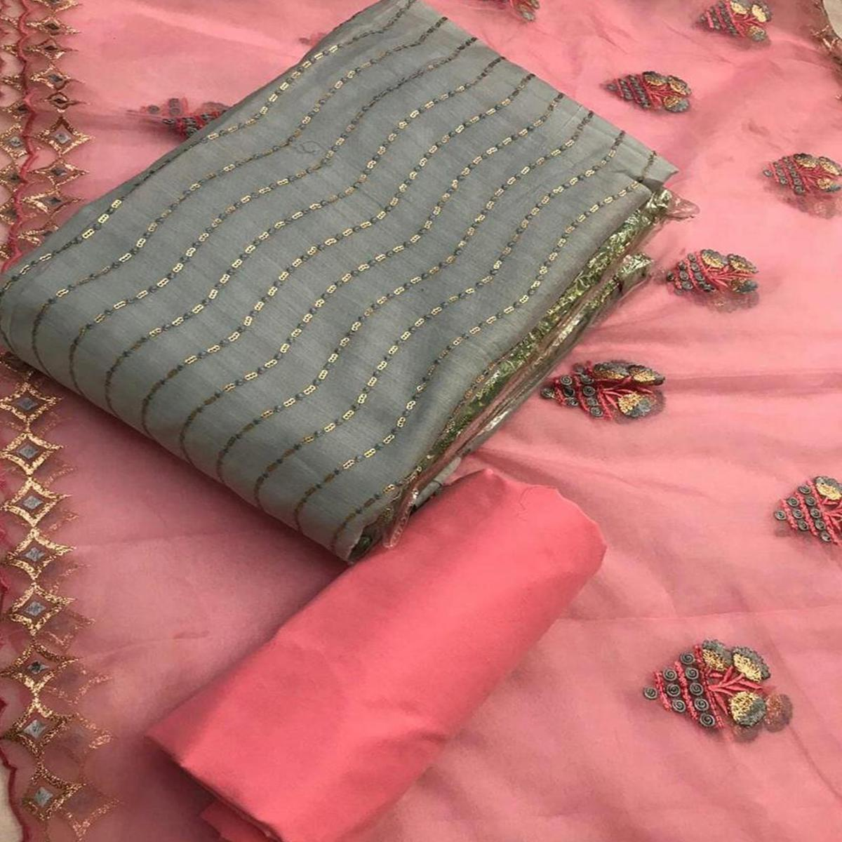 Amazing Grey Colored Partywear Embroidered Chanderi Cotton Dress Material