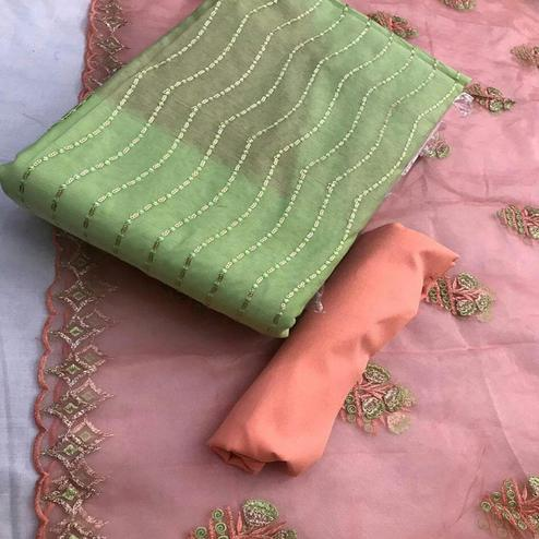 Gorgeous Green Colored Partywear Embroidered Chanderi Cotton Dress Material