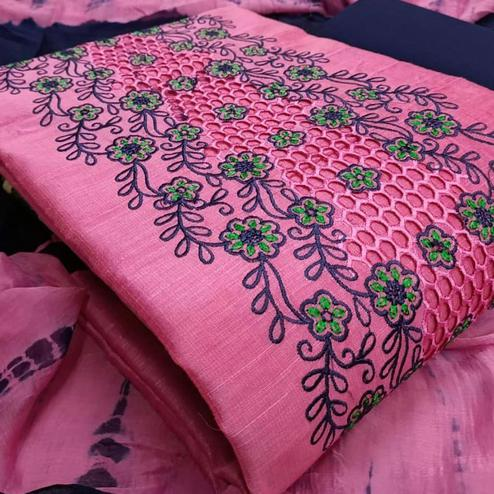 Lovely Pink Colored Partywear Floral Embroidered Chanderi Cotton Dress Material