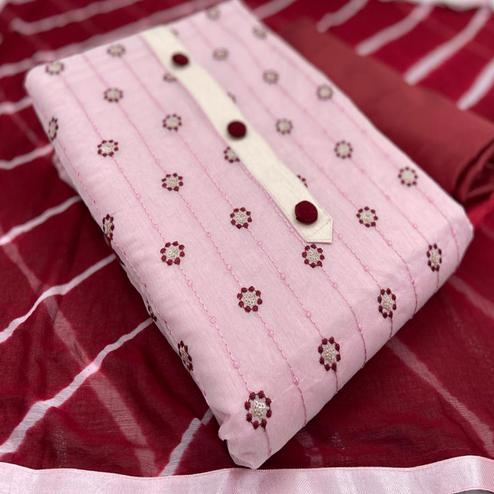 Ravishing Pink Colored Casual Wear Embroidered Chanderi Cotton Dress Material