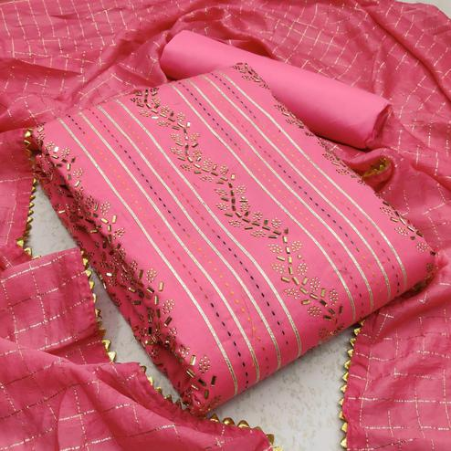 Exotic Pink Colored Partywear Embroidered Cotton Dress Material