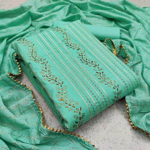 Trendy Turquoise Green Colored Partywear Embroidered Cotton Dress Material