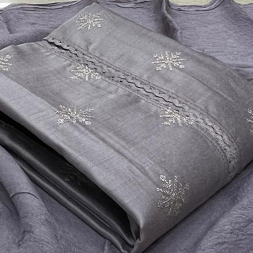 Radiant Pastel Grey Colored Partywear Embroidered Pure Silk Dress Material