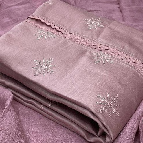 Opulent Mauve Colored Partywear Embroidered Pure Silk Dress Material