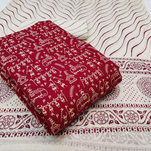 Energetic Red Colored Casual Wear Warli Printed Cotton Dress Material
