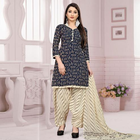 Glowing Navy Blue Colored Casual Wear Warli Printed Cotton Dress Material