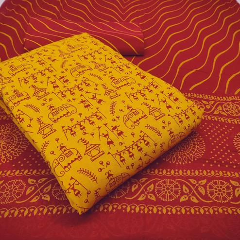 Exceptional Yellow Colored Casual Wear Warli Printed Cotton Dress Material