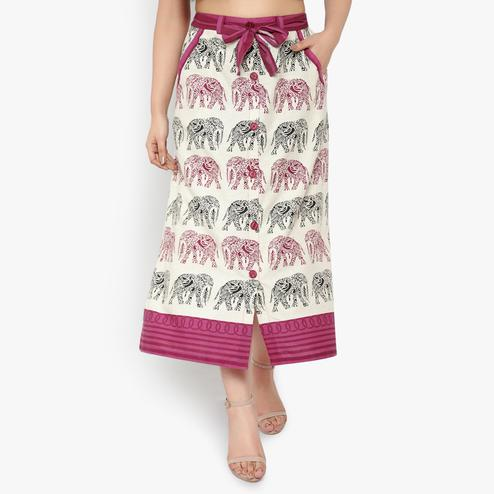 Ayaany - Women Cream Colored Casual Printed Pure Cotton Maxi Skirt With Side Pockets