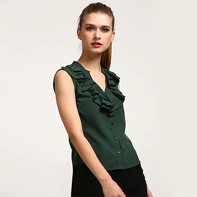 Trendy Olive Green Casual Wear Pure Crape Top
